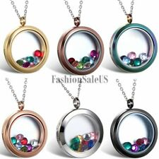 Stainless Steel Round Floating Glass Memory Openable Locket Pendant Necklace New