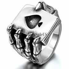 Mens Gothic Biker Poker Spades Skull Claw Steel Ring Vintage Band Halloween Gift