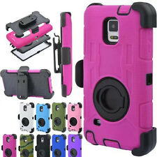 Rugged Hybrid Rubber Clip Holster Hard Case Cover For Samsung Galaxy Note 5 4 S6