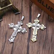 Charm Men Woman Stainless Steel Cross Pendant Chain Necklace Silver/Blue/Gold