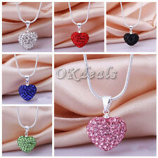 Crystal Heart 925 Sterling Silver Plated Snake Pendant Necklace+Chain Jewelry