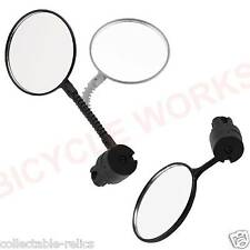 Bicycle Handlebar Mirror Handle Bar Plug End Mount Rear View Flexi Convex Safety