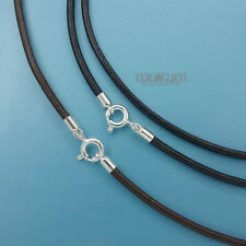 SALE Sterling Silver 2mm Genuine Leather Cord Necklace Choker w/ Spring Clasp