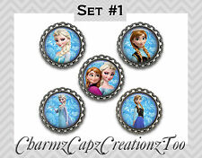Bottle Cap Magnets / Set of 5 / Disney Frozen Inspired /Packaged Gift/Choose Set