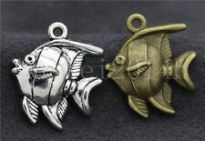 6/20/100pcs Antique Silver Lovely Deep sea fish Jewelry Charms Pendant 25x22mm