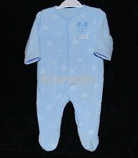 Baby Boys Disney Mickey Mouse Blue Fleece Sleepsuit/All in One Tiny Baby-9 Month