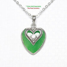 A Beautiful Love & Heart Green Jade Pendant Cubic Zirconia in Solid Silver 925