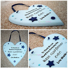 """Personalised """"Best Godfather Ever"""" Heart Shape Plaque - Christening Bespoke Gift"""