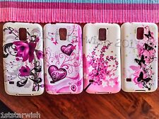 Printed Samsung Galaxy S5 Soft Gel Case Cover Pink Hearts Flowers Butterflies