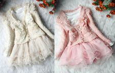 Baby Girl Kids Floral 2 Piece Cardigan Set Clothes TuTu Party Dress Skirt Outfit