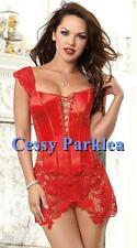 Red Faux Leather Venice Lace Corset Bustier Lace-up Front Zipper Back  AU 8-22