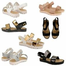 WOMENS JELLY SLING BACK OPEN TOE CLEATED SOLE BEACH FLATFORM SANDALS SHOES SIZE