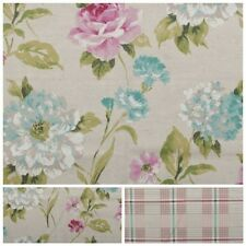 WATERCOLOUR FLORAL TARTAN CHECK LINEN COTTON PANAMA CURTAIN UPHOLSTERY FABRIC
