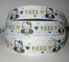 """GROSGRAIN GREEN BAY PACKERS HELLO KITTY 7/8""""RIBBON*YOUR CHOICE 1, 3, 5 YARDS*"""