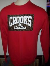 New CROOKS & CASTLES red sweatshirt pull over shirt men sz medium or large