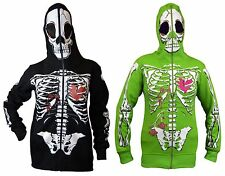 Womens Full Face Mask Skeleton Skull Hoodie Sweatshirt Halloween Costume T-Shirt