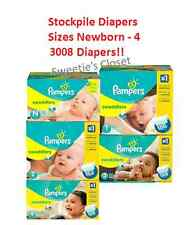 Diaper Stockpile Pampers Swaddlers Newborn 1 2 3 & 4 Up to 3008 YEAR of Diapers