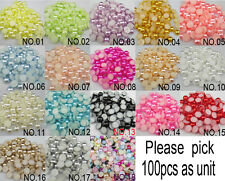 200pcs Half Round Pearl Bead Flat Back Size 6mm Scrapbook for Craft Pick colors