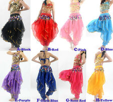 Belly Dance Costume Sets Top & Tribal Gold Wavy Harem Pants Skirt 8 Colors
