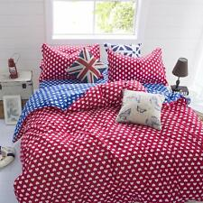 Red Heart Single Double Queen King Size Bed Set Pillowcases Quilt Duvet Cover