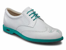 ECCO Womens Classic Hybrid White Turquoise Hydromax Waterproof Leather Golf shoe