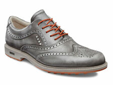 ECCO Mens Tour Hybrid Wing Tip Grey/Orange Hydromax All Leather Golf Shoes