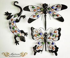 Metal Butterfly Lizard Dragonfly Gecko Home Wall Garden Decoration Plaques