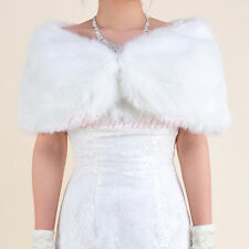 Faux Fur Ivory Wedding Wrap Stole Bridal Bolero Jacket Bridesmaid Shrug Coat S-L