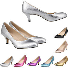 Womens Ladies Low Mid Kitten Heel Bridal Pumps Office Court Heels Shoes Size US