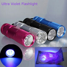 9 LED UV Flashlight Blacklight Ultra Violet Detection Mini Torch Light Lamp New