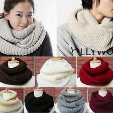 Soft Women Winter Warm Infinity 2Circle Cable Knit Cowl Neck Long Scarf Shawl DH