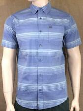 Hurley Troop Button Up Woven Shirt Mens Blue Striped Short Sleeve New NWT
