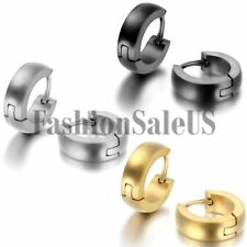 Men's Womens Unisex Stainless Steel Plain Cambered Hoop Huggie Earrings One Pair