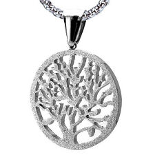 Stainless Steel Tree of Life Circular Pendant Sandblast Finish Chain is Included