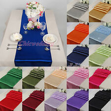 "New 10PCS 12""x108"" Wedding Satin Table Runner Party Kitchen Decoration 18 Colors"