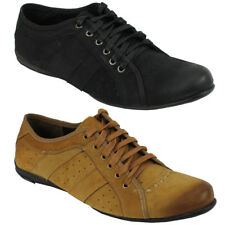 Mens Faux Suede Leather Black Tan Casual Slim Lace up Trainers Flat Work Shoes