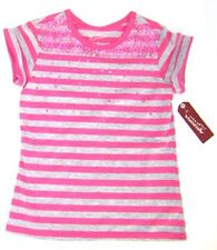 Arizona Girls  Short Sleeve Striped Sequin Shirt NWT Sz  6/7,   8,  10/12  Pink
