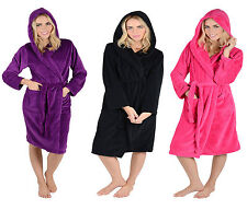 Ladies Womens Soft Coral Fleece Hooded Bath Robe Wrap Dressing Gown with Hood