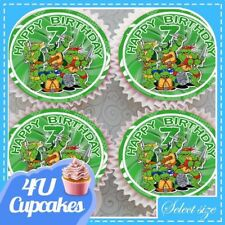 NINJA TURLE HAPPY BIRTHDAY AGES 2 - 10 EDIBLE CUPCAKE TOPPERS RICE PAPER CCT506