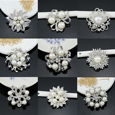 Universal Brooch Beauty Fashion Romantic Brooch Pin Crystal Alloy Faux Pearl