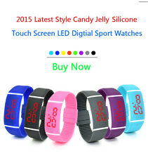 Women Men Kids Candy Jelly Silicone Waterproof LED Digital Sport Touch Watches