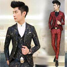 New Mens 2 buttons Suits blazer print slim fit jacket Business casual overcoat #