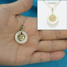 14k Solid Yellow Gold Hand Crafted Dragon on 19mm White Mother of Pearl Pendant