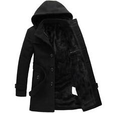 Hot winter Mens trench coat warm lined hooded wool Casual Jacket outwear parka #