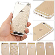 Gold Chrome Transparent Hard PC + Soft TPU Back Case Cover For iPhone & Samsung