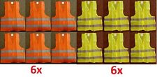 LOT 2 & 6 Reflective Safety Vest Yellow Orange Strip School Construction Traffic