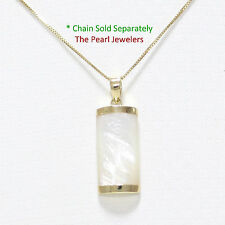 14k Solid Yellow Gold Curve Shape 9x18mm White Mother of Pearl Pendant 1""