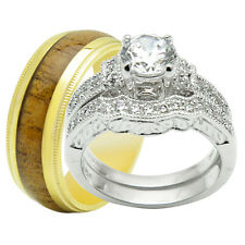 His & Hers 3PCS Titanium Gold 925 Sterling Silver Engagement Wedding Rings Set