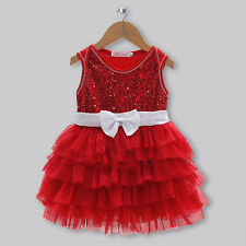 NEW Girls Dress Red White Bow Beautiful Wedding, Party Dress Fancy Dress Summer