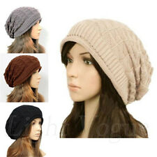 Women Winter Plicate Baggy Beanie Knit Crochet Ski Hat oversized Xmas Cap m20